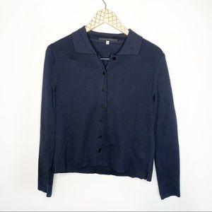 Peruvian Connection Navy Cotton Collar Cardigan
